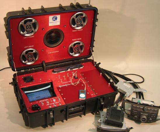 Portable suitcase tester for automotive audio systems that is designed to emulate production functional test environment.
