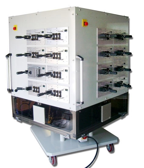 "Test cabinet houses 32 ""conditioning nests"" in cell manufacturing environment"